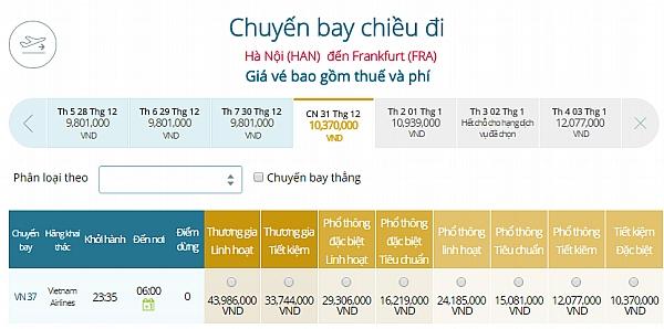 Giá vé máy bay từ Hà Nội đi Frankfurt