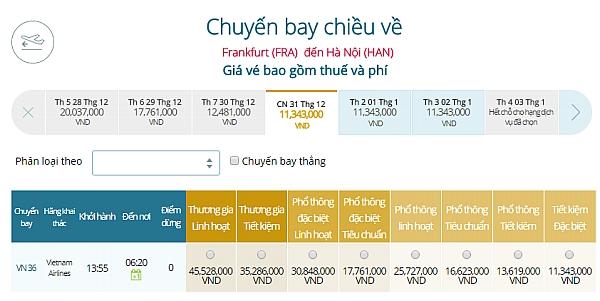 Giá vé máy bay từ Frankfurt đi Hà Nội