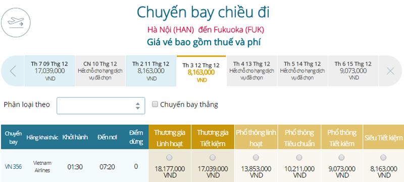 Giá vé máy bay từ Hà Nội đi Fukuoka