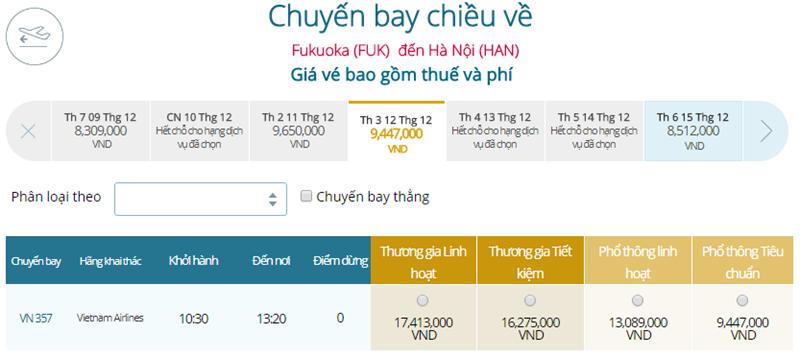 Giá vé máy bay từ Fukuoka đi Hà Nội