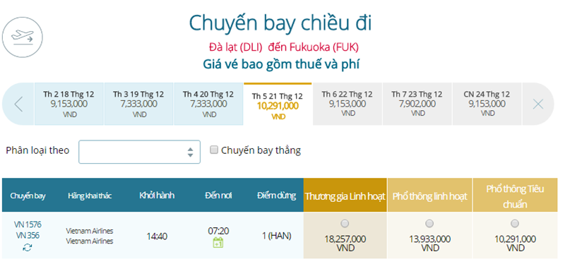 Giá vé máy bay từ Đà Lạt đi Fukuoka