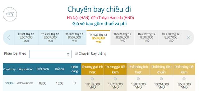 Giá vé máy bay từ Hà Nội đi Tokyo, Haneda ( HND)