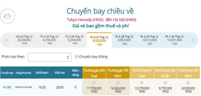 Giá vé máy bay từ Tokyo, Haneda ( HND) đi Hà Nội