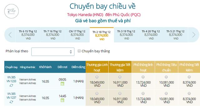 Giá vé máy bay từ Tokyo, Haneda ( HND) đi Phú Quốc