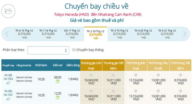 Giá vé máy bay từ Tokyo, Haneda ( HND) đi Nha Trang