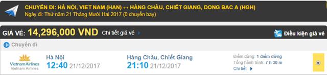 Giá vé máy bay từ Hà Nội đi Hàng Châu