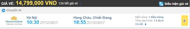 Giá vé máy bay từ Hà Nội đi Hàng Châu hãng Vietnam Airlines