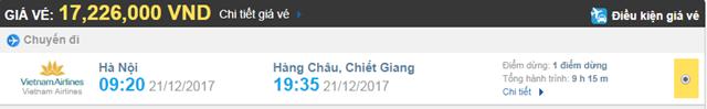 Giá vé máy bay từ Hà Nội đi Hàng Châu Vietnam Airlines