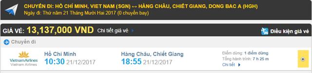 Giá vé máy bay từ TPHCM đi Hàng Châu