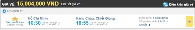 Giá vé máy bay từ TPHCM đi Hàng Châu hãng Vietnam Airlines