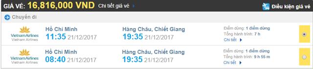 Giá vé máy bay từ TPHCM đi Hàng Châu Vietnam Airlines