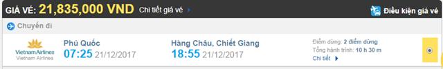 Giá vé máy bay từ Phú Quốc đi Hàng Châu hãng Vietnam Airlines