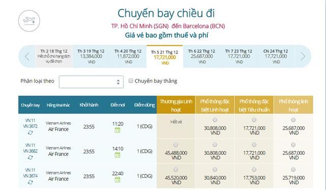 Giá vé máy bay từ TPHCM đi Barcelona