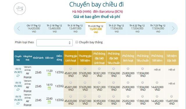 Giá vé máy bay từ Barcelona đi Hà Nội
