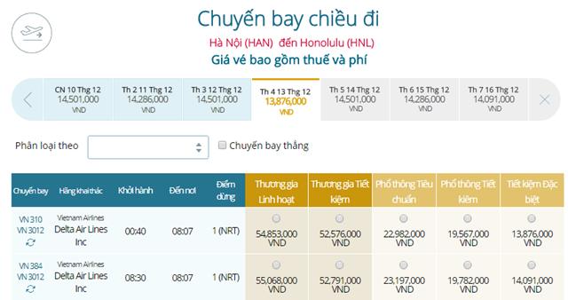 Giá vé máy bay từ Hà Nội đi Honolulu
