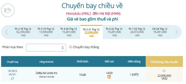 Giá vé máy bay từ Honolulu đi Hà Nội