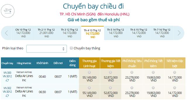 Giá vé máy bay từ TPHCM đi Honolulu