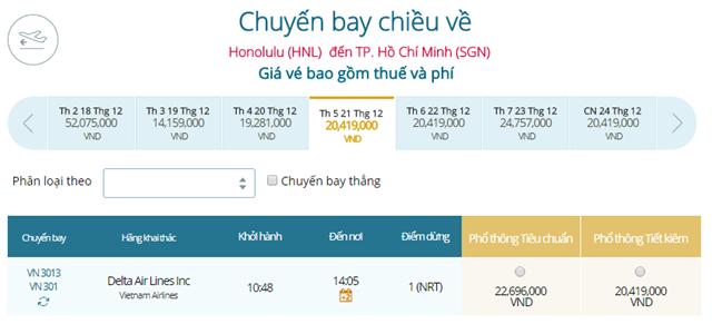 Giá vé máy bay từ Honolulu đi TPHCM