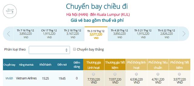 Giá vé máy bay Vietnam Airlines Hà Nội đi Kuala Lumpur