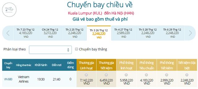 Giá vé máy bay Vietnam Airlines Kuala Lumpur đi Hà Nội