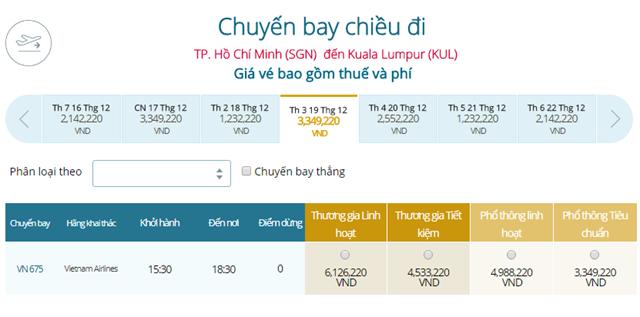 Giá vé máy bay Vietnam Airlines TP Hồ Chí Minh đi Kuala Lumpur
