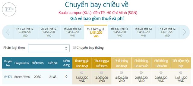 Giá vé máy bay Vietnam Airlines Kuala Lumpur đi TP Hồ Chí Minh