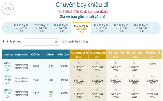 Giá vé máy bay Vietnam Airlines Huế đi Kuala Lumpur
