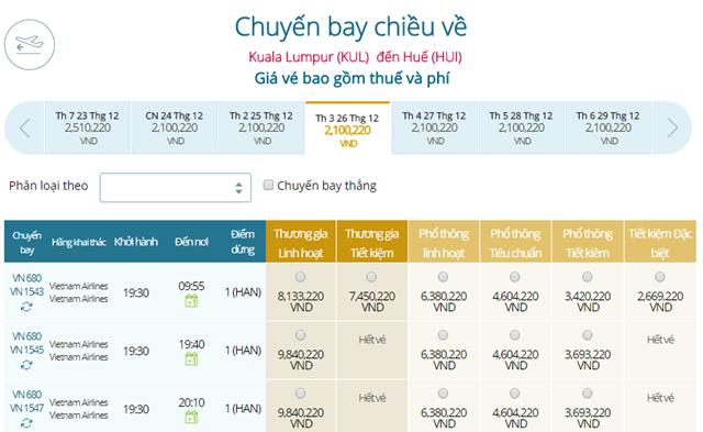 Giá vé máy bay Vietnam Airlines Kuala Lumpur đi Huế