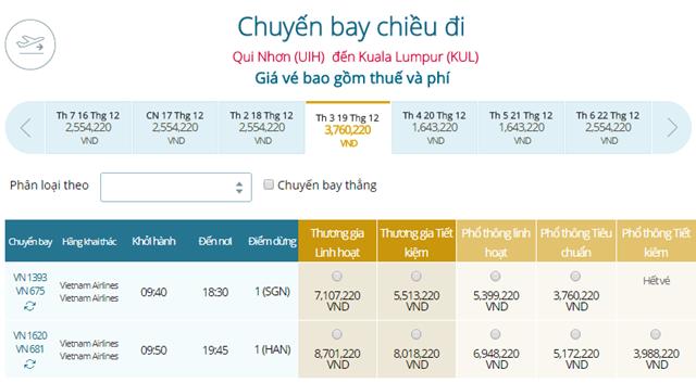 Giá vé máy bay Vietnam Airlines Quy Nhơn đi Kuala Lumpur