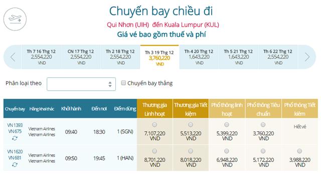 Giá vé máy bay Vietnam Airlines Kuala Lumpur đi Quy Nhơn