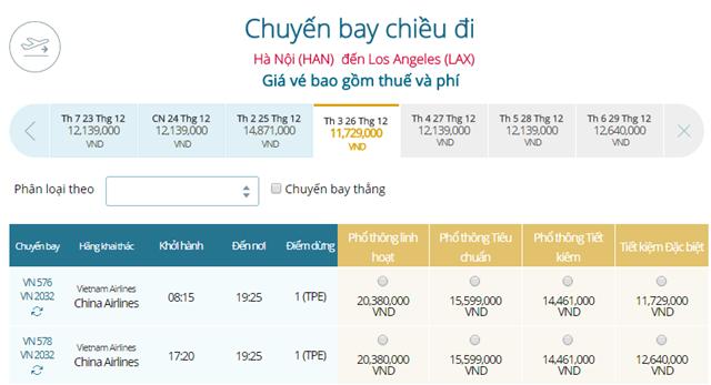 Giá vé máy bay từ Hà Nội đi Los Angeles