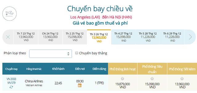 Giá vé máy bay từ Los Angeles đi Hà Nội