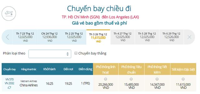 Giá vé máy bay từ TPHCM đi Los Angeles