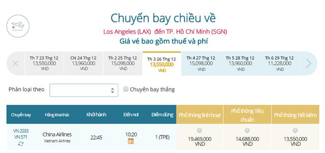 Giá vé máy bay từ Los Angeles đi TPHCM