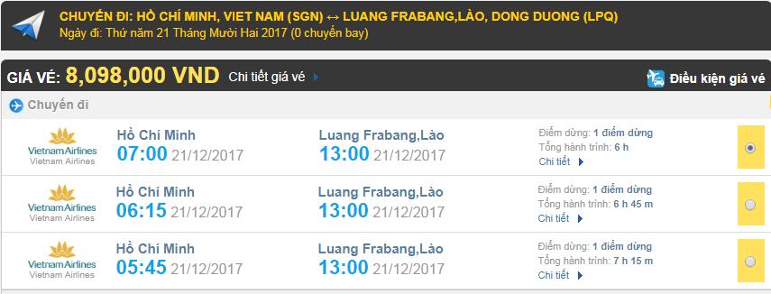 Giá vé máy bay từ TPHCM đi Luang Prabang, Lào