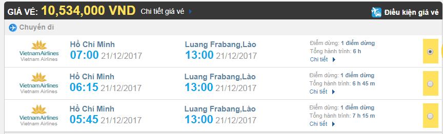 Giá vé máy bay từ TPHCM đi Luang Prabang hãng Vietnam Airlines