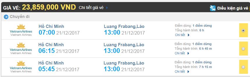 Giá vé máy bay từ TPHCM đi Luang Prabang Vietnam Airlines