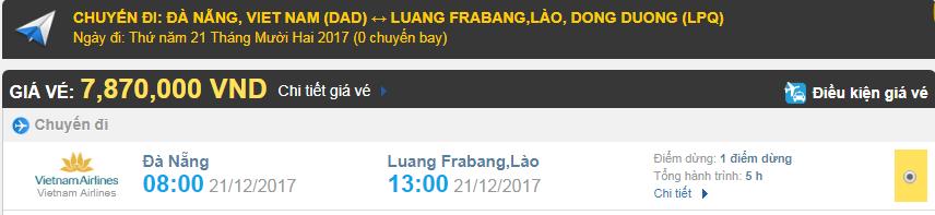 Giá vé máy bay từ Đà Nẵng đi Luang Prabang, Lào