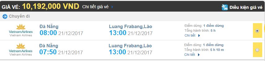 Giá vé máy bay từ Đà Nẵng đi Luang Prabang hãng Vietnam Airlines