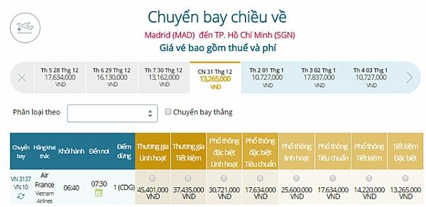 Giá vé máy bay từ Madrid đi TPHCM