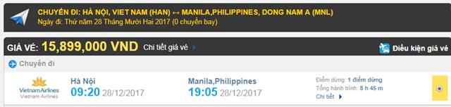 Giá vé máy bay từ Hà Nội đi Manila