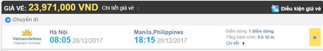 Giá vé máy bay từ Hà Nội đi Manila hãng Vietnam Airlines
