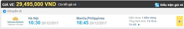 Giá vé máy bay từ Hà Nội đi Manila Vietnam Airlines
