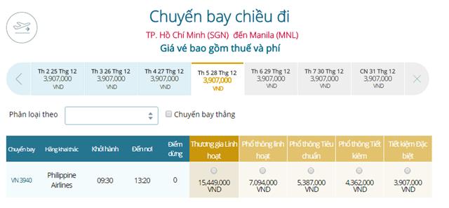 Giá vé máy bay từ TPHCM đi Manila