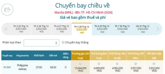 Giá vé máy bay từ Manila đi TPHCM
