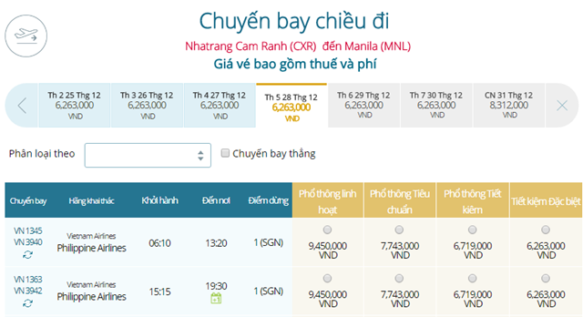 Giá vé máy bay Vietnam Airlines các tỉnh thành khác đi Manila mới nhất