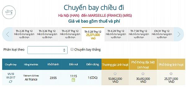 Giá vé máy bay từ Hà Nội đi Marseille