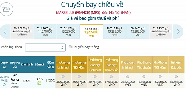 Giá vé máy bay từ Marseille đi Hà Nội