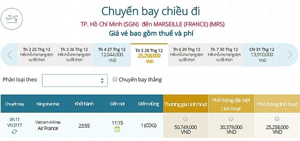 Giá vé máy bay từ TPHCM đi Marseille