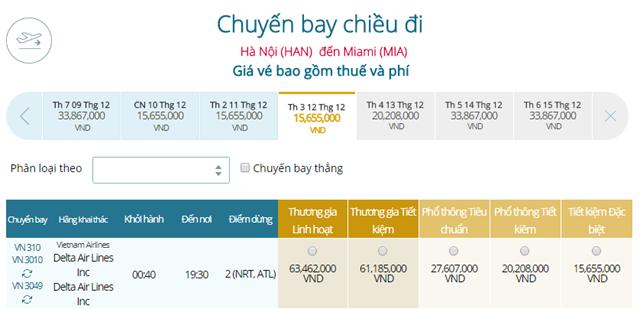 Giá vé máy bay từ Hà Nội đi Miami